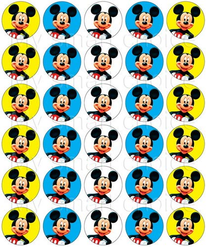 30 x Edible Cupcake Toppers - Mickey Mouse Themed Collection of Edible Cake Decorations | Uncut Edible Prints on Wafer Sheet ]()