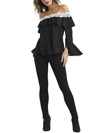 90f905b7c513 Lipsy Womens Lace Trim Bardot Top - Black - (UK 20)  Amazon.co.uk  Clothing