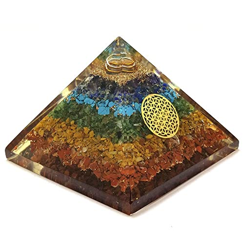Realcrystalstore Orgone Chakra Pyramid – Seven Chakra Orgone Pyramid – Orgonite Pyramid for Energy Healing – Orgonite Kit – Emf Protection – Energy Generator – Chakra Crystals