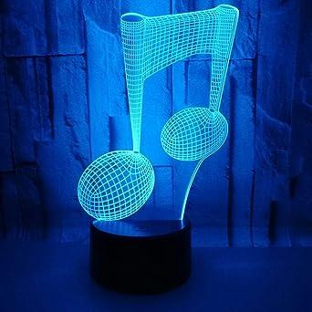 Nota musical luz nocturna 3D luz visual colorida táctil control ...