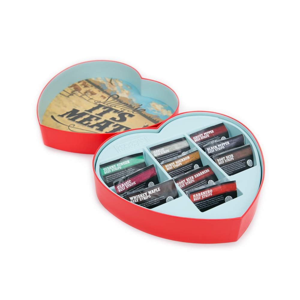 Jerky Heart – Includes 10 Delicious Beef Jerky Flavors Like Whiskey Maple and Honey Bourbon – In A Delightfully Surprising Heart-Shaped Box – Fun Food Gift For Men