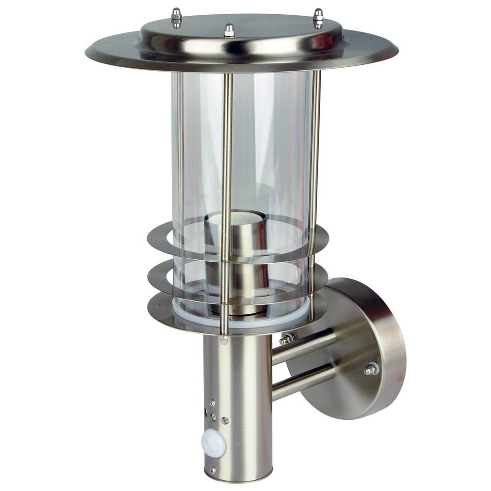 Grafner® Design Edelstahl Wandleuchte mit Bewegungsmelder E27 Wandlampe außen und innen IP44