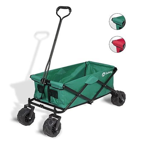 Sekey Carrito Plegable Carro Plegable Carretilla para Exterior Carrito de Playa Vagón Todo Terreno Remolque para jardín Exterior Trolley de Transporte