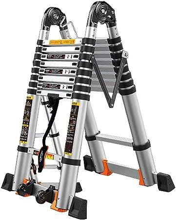 WGOOGA Escalera telescópica con Ruedas Escalera telescópica portátil de Aluminio Escalera Plegable Extensible con Marco en Forma de A Escalera de extensión 150 kg (Size : 5.8m/19ft(2.9m+2.9m)): Amazon.es: Hogar