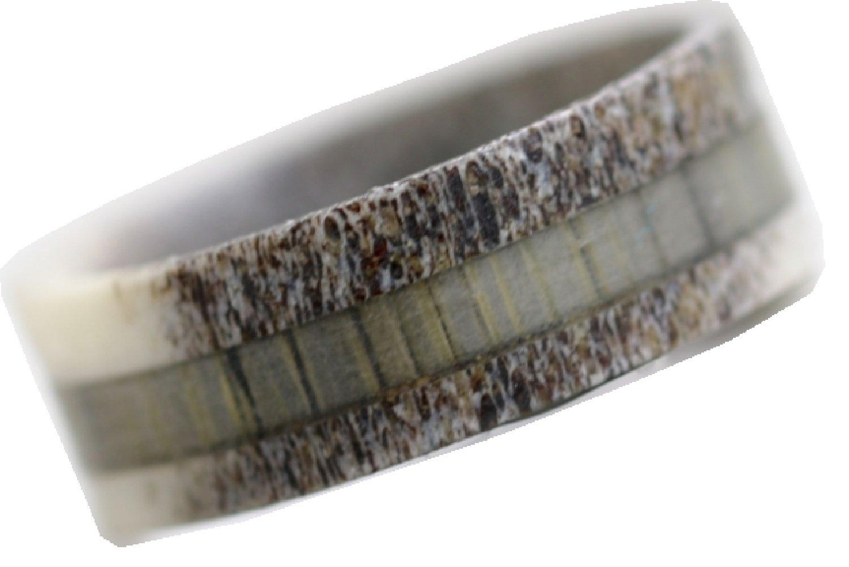 Natural Deer Antler Ring with Grey Koa Wood Inlay - Unisex Deer Hunter Mens Womens Wedding Engagement Band (11)