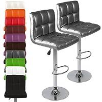 Miadomodo Coppia sgabelli bar cucina con schienale in similpelle altezza regolabile ca. 92-114 cm colore a scelta