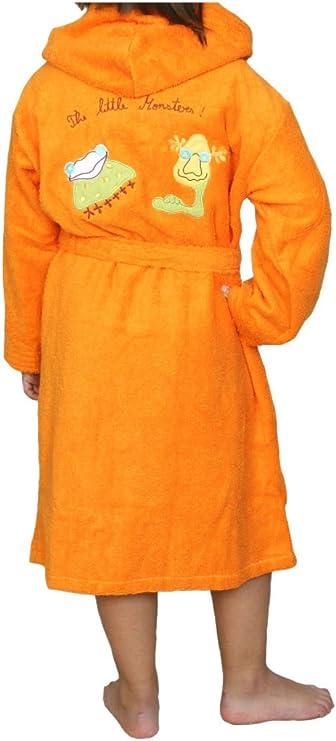 Albornoz Infantil, Rizo, 100% algodón, Naranja. (8): Amazon.es: Hogar