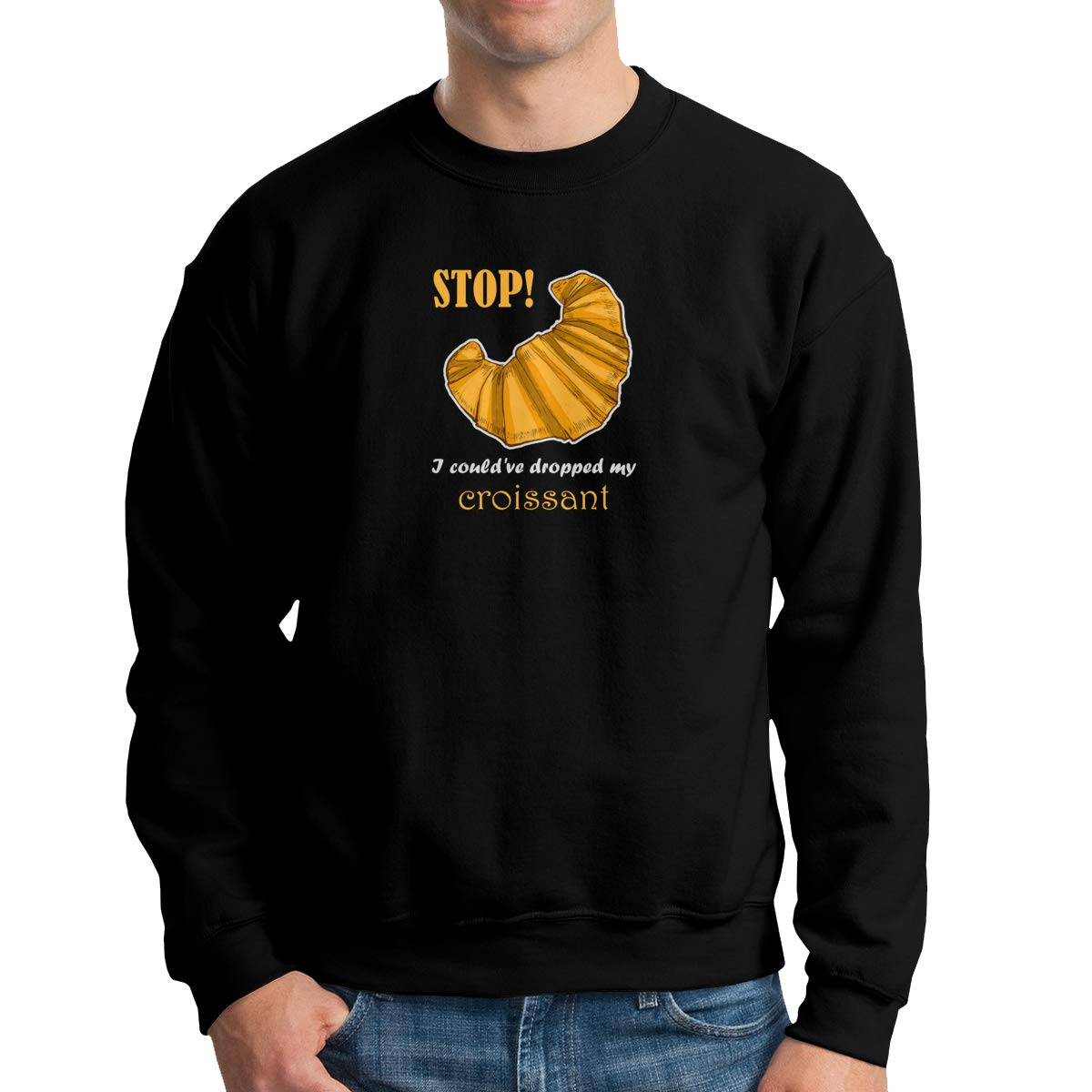 TADMAD I Couldve Dropped My Croissant Mens Crew Neck Hoodie Sweatshirt