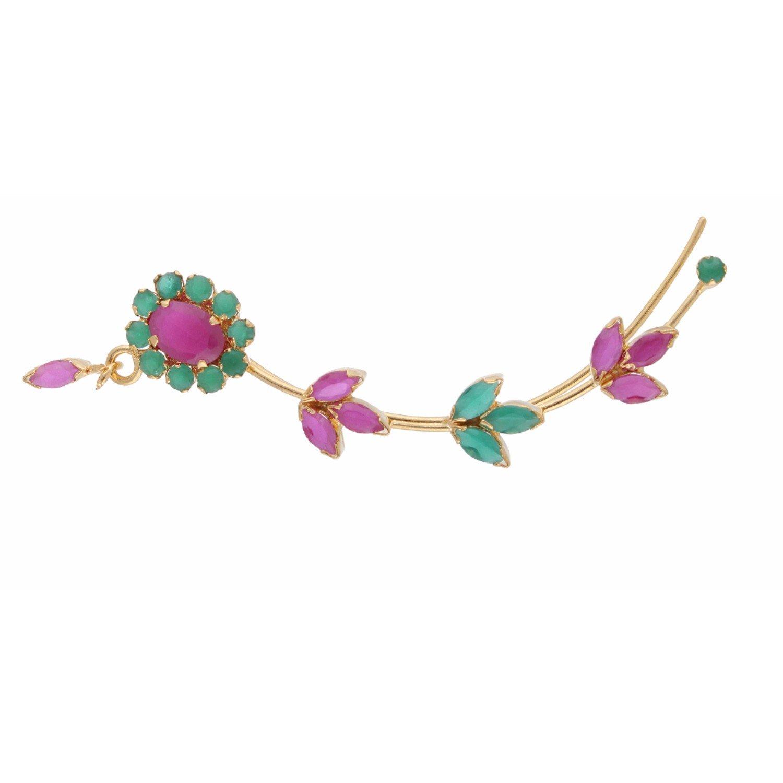 Efulgenz Ear cuffs Cubic Zirconia Halo Flower Leaf Climber Crawler Cartilage Clip on Faux Ruby Emerald Cuff Wrap Earrings by Efulgenz (Image #4)