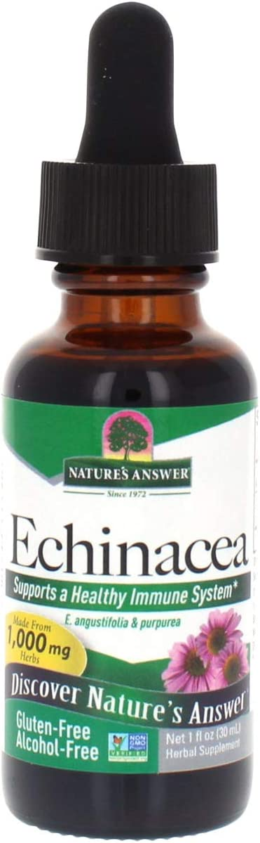 Nature s Answer Echinacea Supports a Healthy Immune System Non-GMO Alcohol-Free, Gluten-Free, Vegan, Kosher Certified No Preservatives 1oz