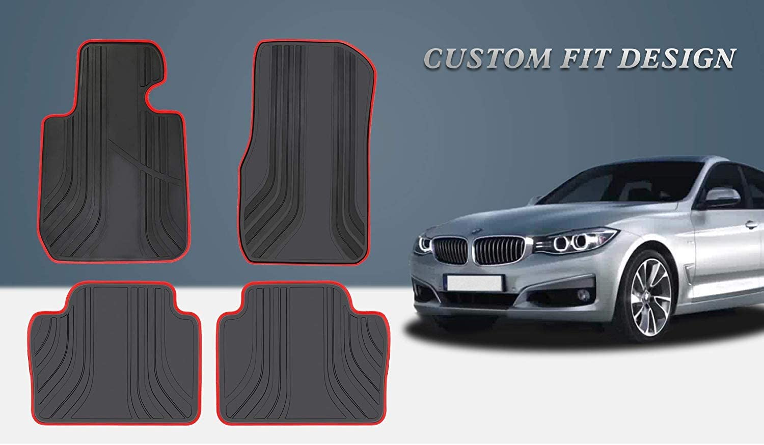 San Auto Car Floor Mat for BMW 3//4 Series F30 F31 F32 F33 F36 2012-2013-2014-2015-2016-2017-2018 Black and Navy Blue Auto Rubber Floor Liner Carpet All Weather Protection Heavy Duty Odorless