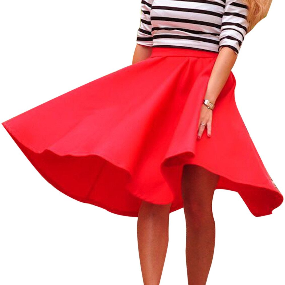 EOWEO Skirt,2019 Anniversary Celebration Vintage Women Stretch High Waist Skater Flared Pleated Swing Long Skirt Dress(Small,Red)