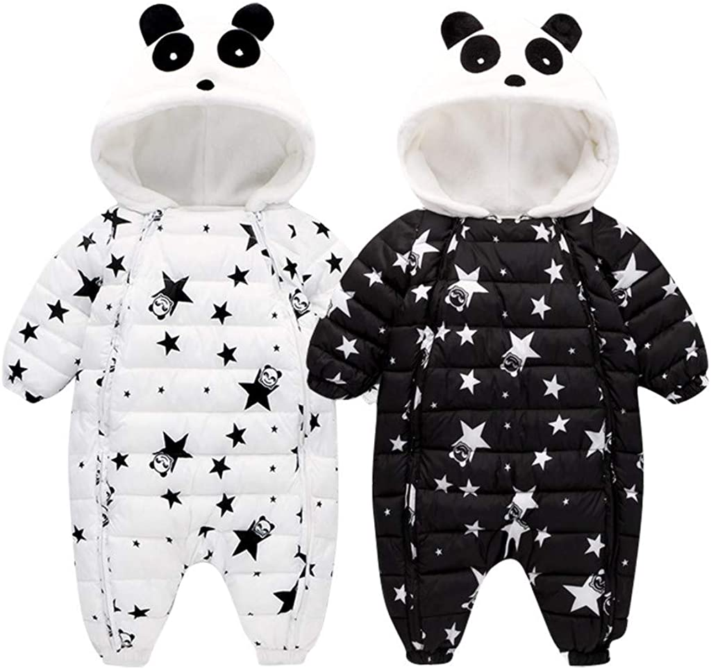 Moonker-Baby Tops Newborn Infant Boys Girls Winter Snowsuit Coat Warm Clothes 3-24 Months Hooded Thick Star Jumpsuit Overcoat