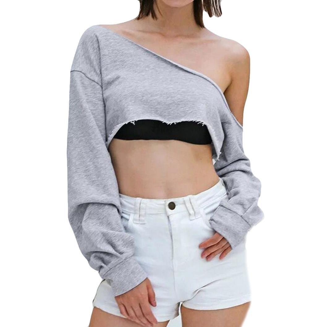 09beb9114c267 Oksale Baby Girl's Long Sleeve Leaking Shoulder Bllouse T-Shirt ...