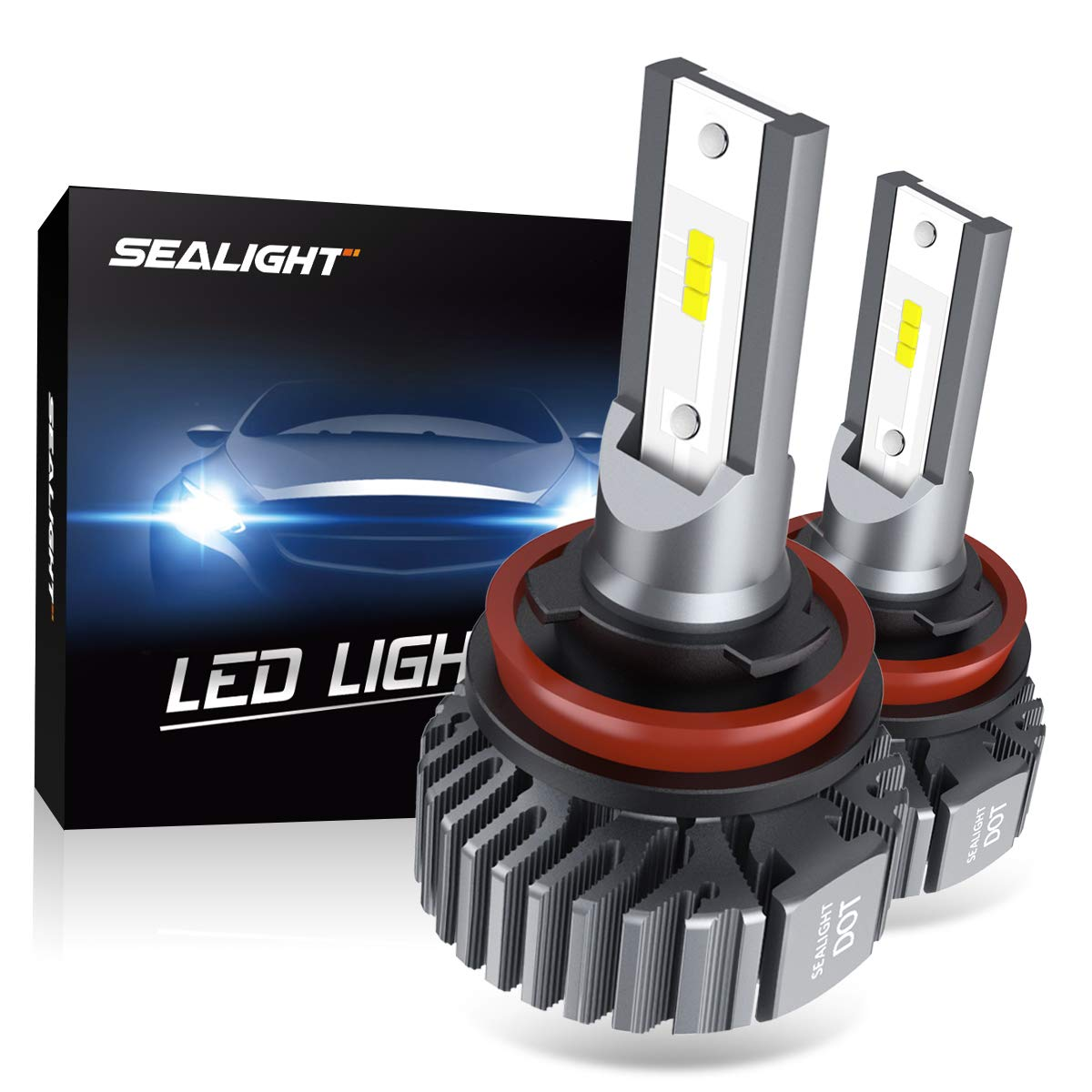 SEALIGHT H11 H9 H8 LED Headlight Bulbs Fanless 6000K White Low Beam Fog lights CSP Chips Halogen Headlight Replacement 30W 5000Lumens