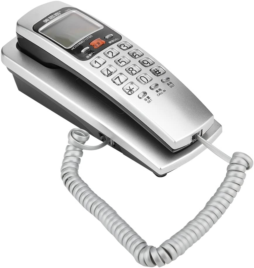 Vbestlife Teléfono Fijo, teléfono estándar con extensión FSK/DTMF para teléfono residencial (Plateado): Amazon.es: Electrónica