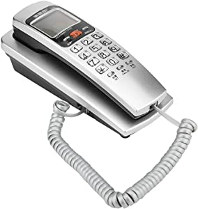 FSK/DTMF Caller ID Telephone Corded Phone Desk with Crystal Button, Desk Put Landline Fashion Extension Telephone Home(Not Support Wall-Mounted)(Silver)
