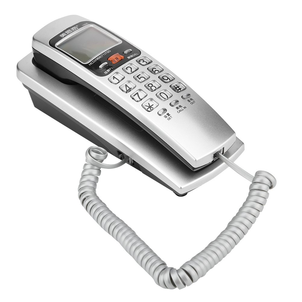 Richer-R FSK/DTMF Caller ID Telephone Corded Phone with Crystal button,Desk Put Landline Fashion Extension Telephone for Home(Silver)