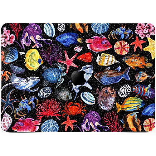 Lex Altern Glitter MacBook Case Pro 15 Air 13 11 12 inches Mac Cute Fish Bling Pattern Black Matte Rhinestone 2018 Turtle Retina Bling Sea Star Cover Hard Shell Apple ()