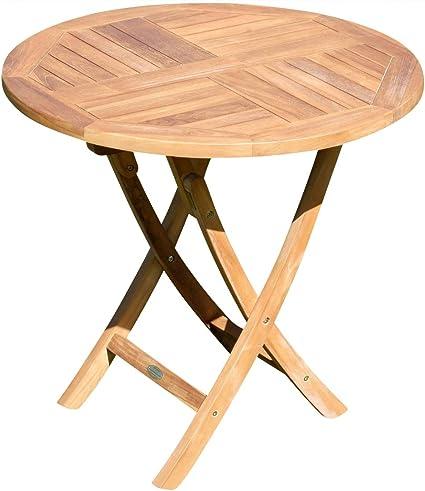 Amazon De Ass Teak Runder Klapptisch Gartentisch Holztisch Garten Tisch Rund 80cm Jav Coamo Teakholz
