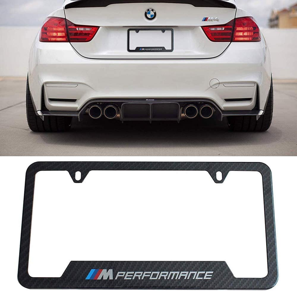 M Performance jiayuandz 2pcs M Performance Logo License Plate Stainless Steel Frame with Carbon Fiber Textured Glossy Finish Logo for BMW