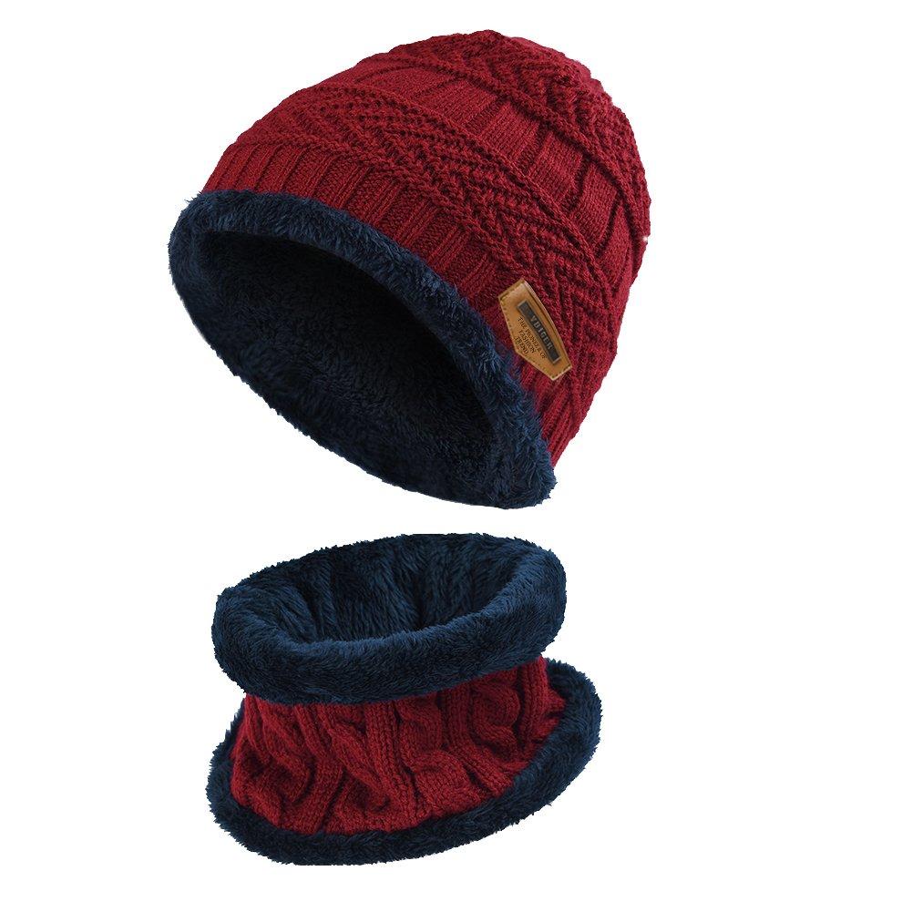 VBIGER Niños Sombrero Caliente de Punto y Bufanda tubular con Forro de  Lana 543b09ea663