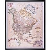 Craig Frames Wayfarer, Executive North America Push Pin Travel Map, Dark Brown Frame and Pins, 24 x 30 Inch