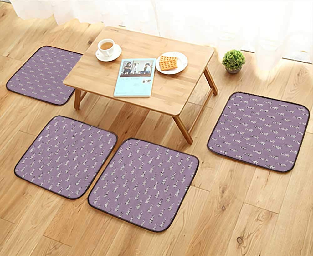 Printsonne Simple Modern Chair Cushions Cute Rabbit Lilac Background Bunny Animal Funny Mascot Reusable Water wash W27.5 x L27.5/4PCS Set