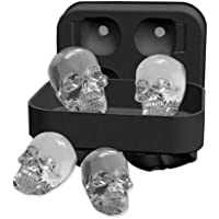 Pawaca 3D Skull Ice Cube Tray Mould, Makes Four Vivid Skulls, Food Grade Flexible Silicone Ice Cube Maker in Shapes for Whiskey Ice and Cocktails