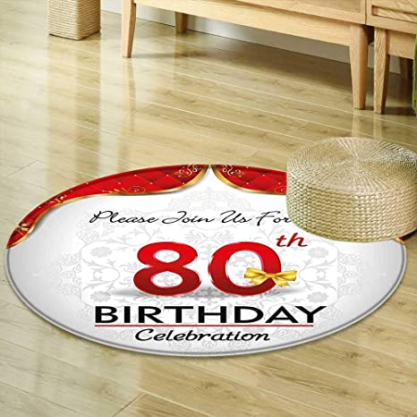 Mikihome Round Rugs For Bedroom 80th Birthday Decorations Party Invitation With Abstract Flora Backdrop Red