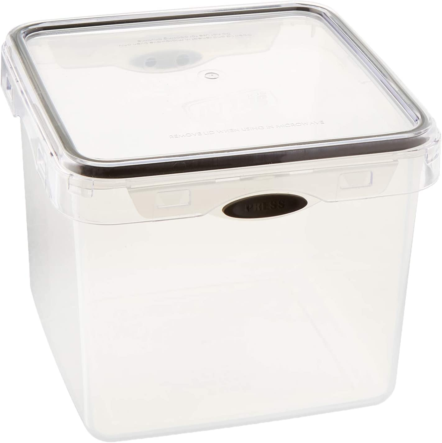 Stor-All Solutions Press N' Click Containers Square Food Storage Set, 9.5 Cup, Clear
