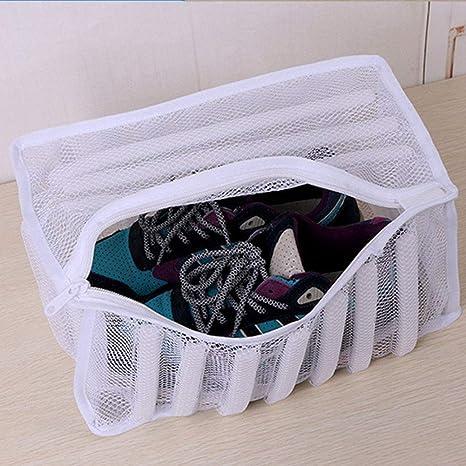 Bolsa de lavandería de malla blanca calzado zapatillas ...