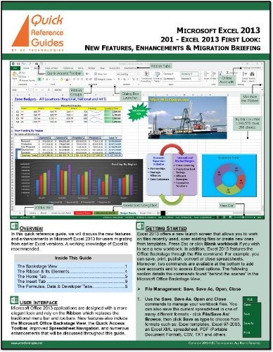 Microsoft Excel 2013 First Look Quick Reference Card (Cheat Sheet): What's New in Excel 2013