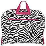 World Traveler 40 Inch Hanging Garment Bag, Pink Trim Zebra, One Size