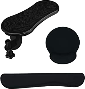 LuckIn Wrist Rest Set, Memory Foam Mouse Rest Pad & Keyboard Wrist Rest, High-Tech ABS Adjustable Desk Arm Rest Support for Office, Home, Computer, Laptop with Pain Relief, Black, 3 Packs