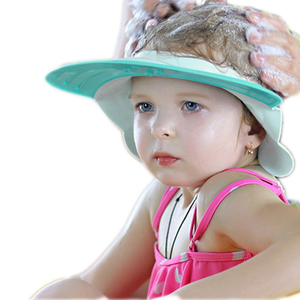 Bathing Hair Cap for Children Silica Gel Soft,Prevent Water from Entering The Ears and face (Blue) Manufacturer