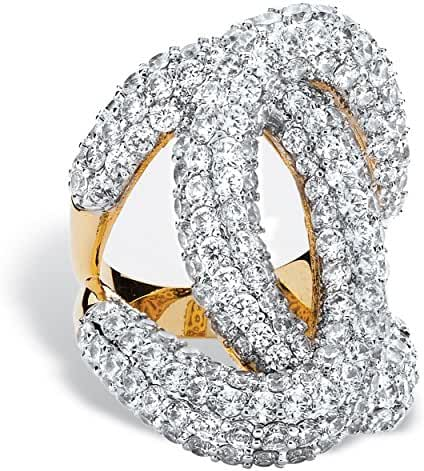 Pave White Cubic Zirconia 14k Gold-Plated Designer-Inspired Loop Ring