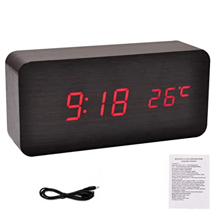 d31d9179a979 Image Unavailable. Image not available for. Color  potato001 Modern Wooden  Wood USB AAA Digital LED Desk Alarm Clock Calendar Thermometer ...