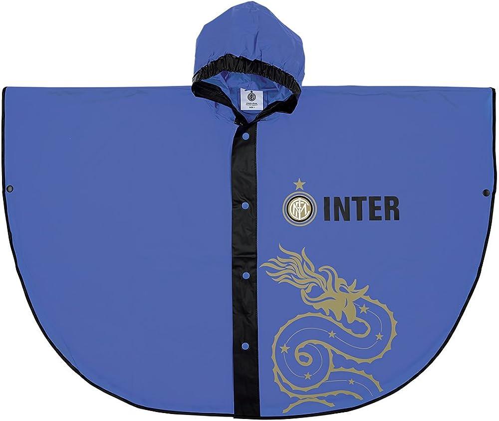 Poncho Impermeabile Bambino FC Official Internazionale Blu Antipioggia con Cappuccio e Bottoni PERLETTI Mantellina Pioggia Ufficiale Inter