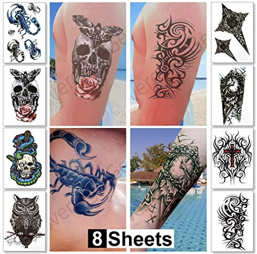Large Temporary Tattoos for Guys for Men & Teens Fake Tattoo Stickers (8 Sheets) Biker Tattoos, Rocker Transfers for Arms...