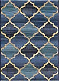 Unique Loom Outdoor Collection Floral Border Transitional Indoor and Outdoor Blue Area Rug (2′ x 3′) For Sale