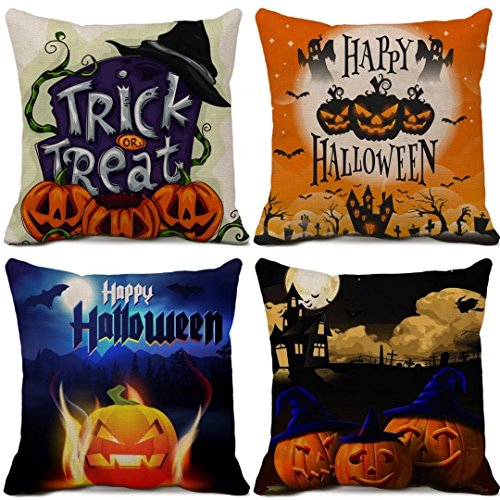 Happy Halloween Decorative Throw Pillowcases Cotton Linen Square Cushion Covers Moon Bat Spider Pumpkin Pillowcasesfor Sofa Couch Home Decor Set of 4 Pillow Cover 20 x 20 (Halloween Quotes)