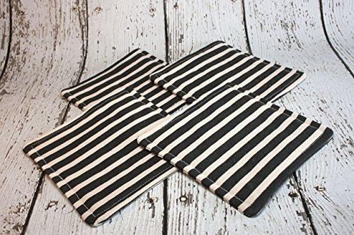 Black and White Striped Fabric Coaster Set