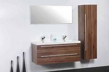 Meuble De Salle De Bain Double Vasques 120 Cm Colonne Miroir
