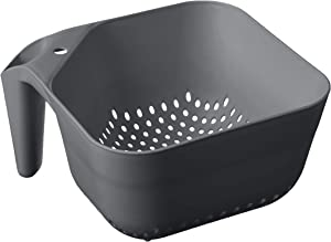 Tovolo Tovolo 3 Quart Colander BPA Free Food Safe Plastic Strainer with Handle Heavy Duty Heat Resistant Pasta and Veggies Kitchen Drainer Steam Basket Dishwasher Safe, Charcoal Gray