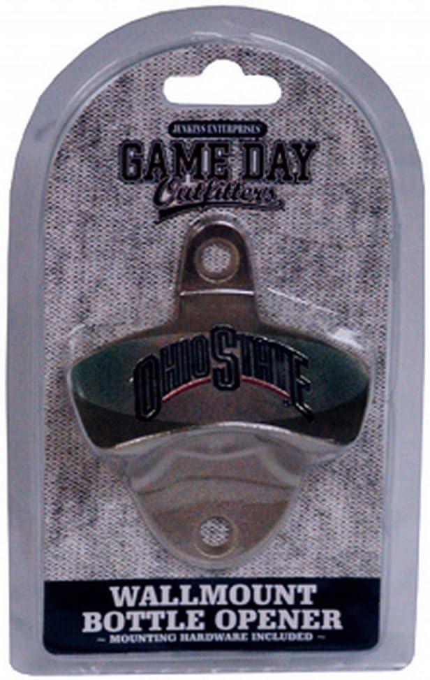 NCAA Ohio State Buckeyes Bottle Opener Metal Retro Wall Mount Small Metallic with Team Color