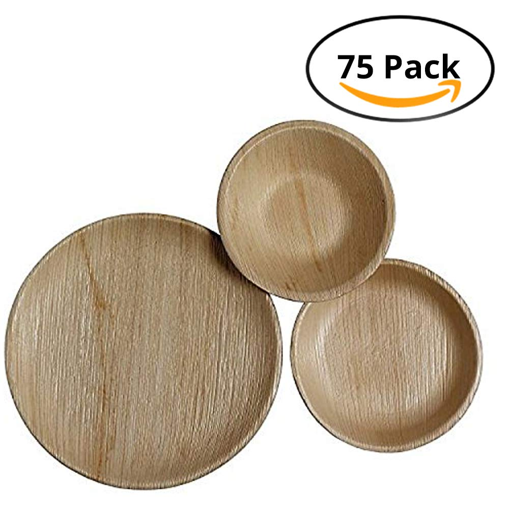 CaterEco Round Palm Leaf Plates Set (75 Pack) | (25) Dinner Plates, (25) Salad Plates and (25) Bowls | Ecofriendly Disposable Dinnerware | Heavy Duty Biodegradable Party Utensils 712166788905