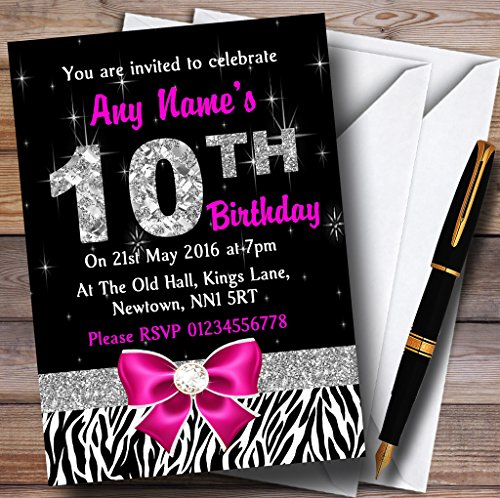 Pink Diamond And Zebra Print 10Th Birthday Party Personalized Invitations (Pink Diamond Zebra)