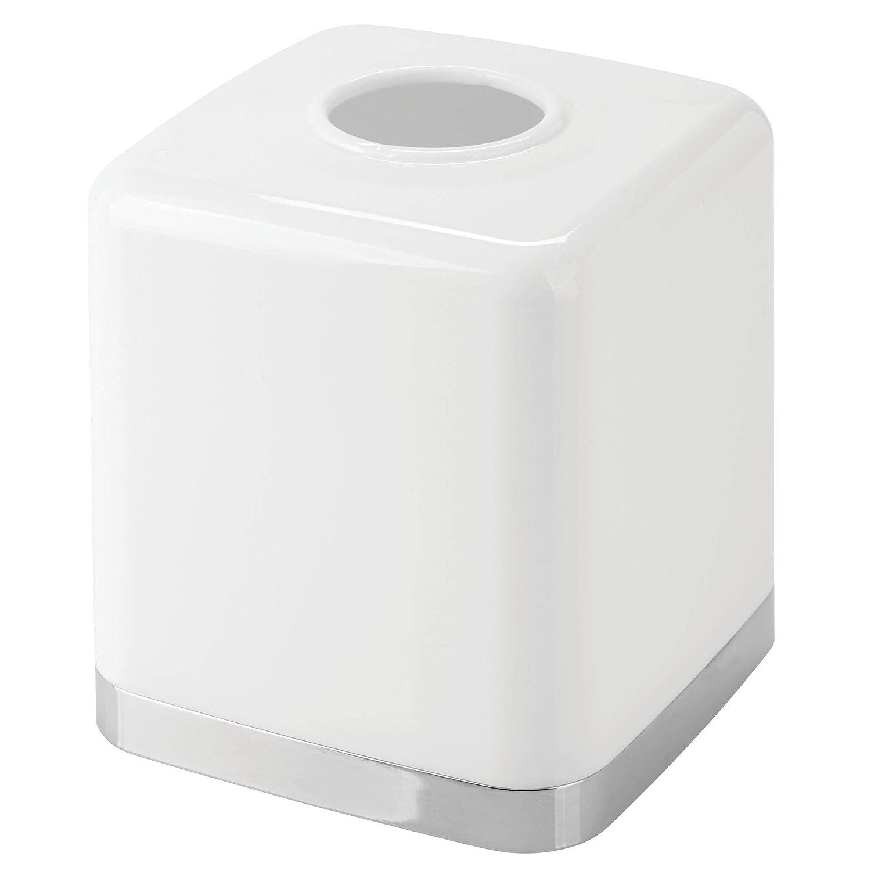 distributeur de mouchoir pratique en plastique pour salle de bain ou bureau mDesign bo/îte /à mouchoirs joli rev/êtement moderne pour boite mouchoir standard couleur blanc//argent/é