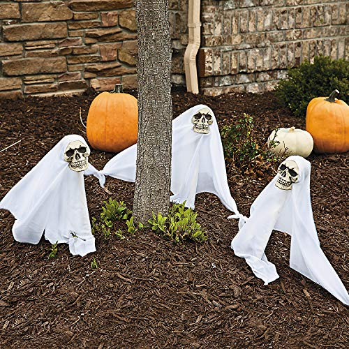 - Fun Express - Skull Yard Stake W/Led for Halloween - Home Decor - Outdoor - Yard Art - Halloween - 3 Pieces